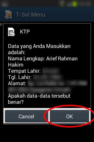 Registrasi SIM prabayar Telkomsel - Pesan konfirmasi kebenaran data pribadi.
