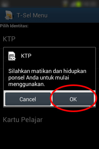 Registrasi SIM prabayar Telkomsel - Pesan untuk merestart handphone.