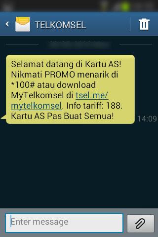 Registrasi SIM prabayar Telkomsel - SMS selamat datang dari Telkomsel.