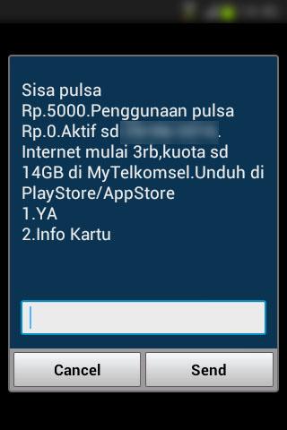 Registrasi SIM prabayar Telkomsel - menu cek pulsa berisi status kartu aktif.