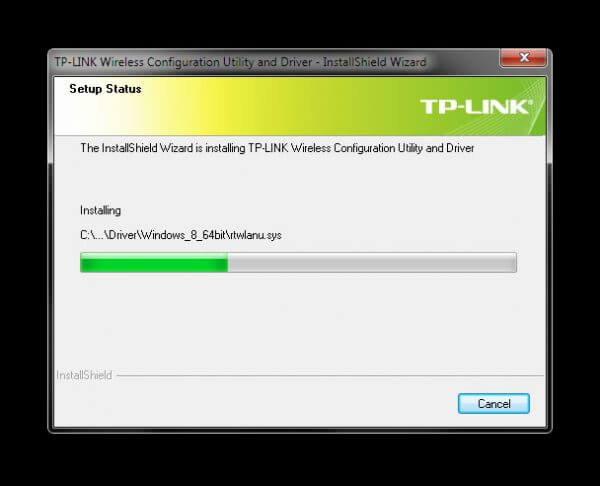 Install TP-Link Wireless Configuration Utility and Driver TL-WN-823N V1 - Installing progress