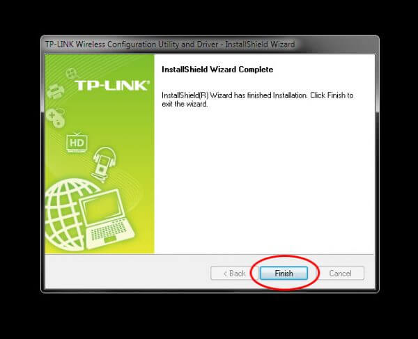 Install TP-Link Wireless Configuration Utility and Driver TL-WN-823N V1 - Finished