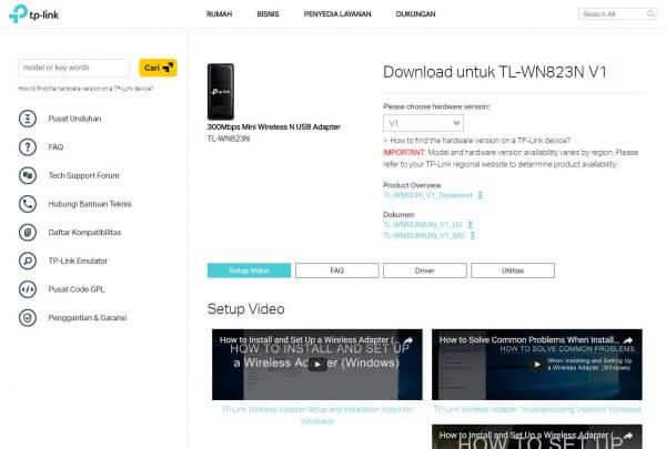 TP-Link TL-WN823N V1 - halaman download