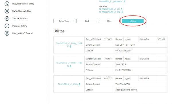 TP-Link TL-WN823N V1 - halaman download Utilitas