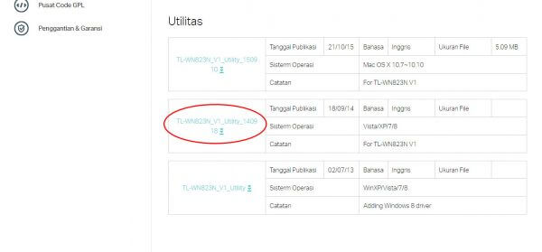 TP-Link TL-WN823N V1 - download Utilitas (Windows)