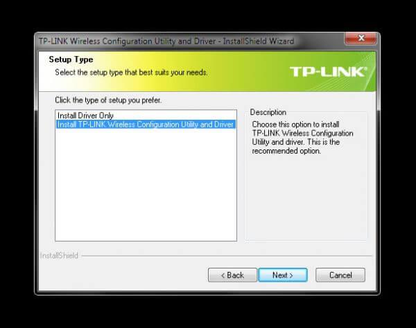 """TP-Link TL-WN823N V1 - Utility Driver Installer """"Setup Type"""""""