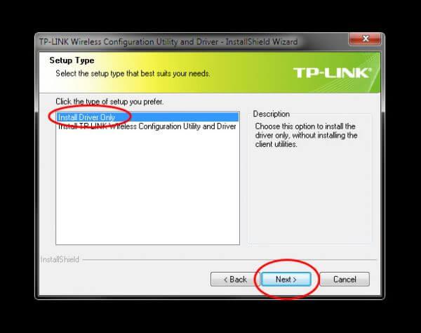 """TP-Link TL-WN823N V1 - Utility Driver Installer """"Setup Type"""" Driver Only"""