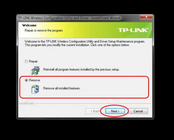 Uninstall TP-Link Wireless Configuration Utility and Driver TL-WN-823N V1 - Pilih Remove