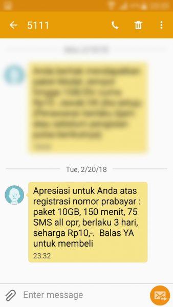 """Registrasi kartu prabayar Telkomsel - SMS penawaran paket """"bonus"""" apresiasi untuk pelanggan yang telah registrasi ulang (nomor pengirim 5111)."""