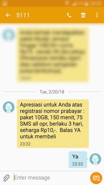"""Registrasi kartu prabayar Telkomsel - Balas """"Ya"""" di SMS penawaran paket """"bonus"""" (nomor pengirim 5111) untuk membeli paket."""