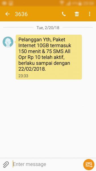 """Registrasi kartu prabayar Telkomsel - SMS pemberitahuan paket """"bonus"""" telah aktif (nomor pengirim 3636)."""