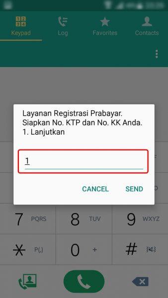 """Registrasi Ulang Kartu SIM Prabayar - ketik 1 untuk """"Lanjutkan"""""""