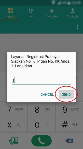 """Registrasi Ulang Kartu SIM Prabayar - ketik 1 dan tekan tombol """"Send"""" atau """"Kirim""""."""