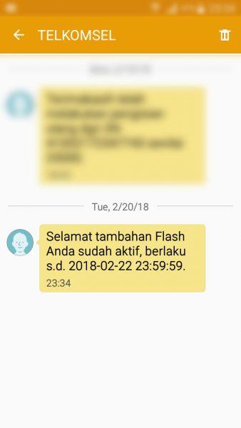 Registrasi kartu prabayar Telkomsel - SMS pemberitahuan tambahan Flash telah aktif (nomor pengirim TELKOMSEL).