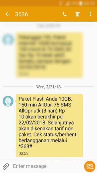 """Registrasi kartu prabayar Telkomsel - SMS pemberitahuan masa aktif paket """"bonus"""" (nomor pengirim 3636)."""