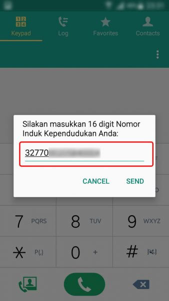 Registrasi Ulang Kartu SIM Prabayar - ketik Nomor Induk Kependudukan atau nomor KTP