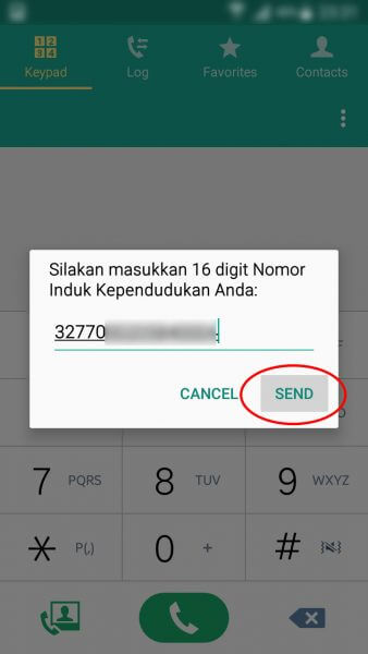 """Registrasi Ulang Kartu SIM Prabayar - ketik Nomor Induk Kependudukan atau nomor KTP dan tekan tombol """"Send"""" atau """"Kirim""""."""