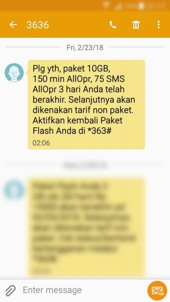 """Registrasi kartu prabayar Telkomsel - SMS pemberitahuan masa aktif paket """"bonus"""" telah berakhir (nomor pengirim 3636)."""