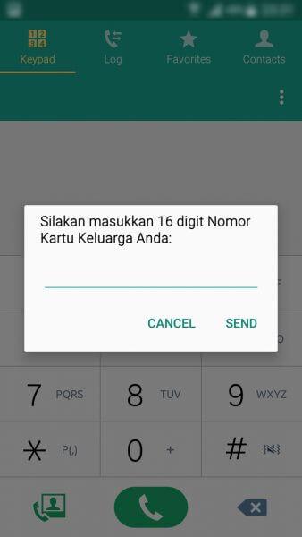 Registrasi Ulang Kartu SIM Prabayar - form Nomor Kartu Keluarga