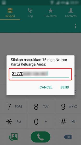 Registrasi Ulang Kartu SIM Prabayar - ketikkan Nomor Kartu Keluarga