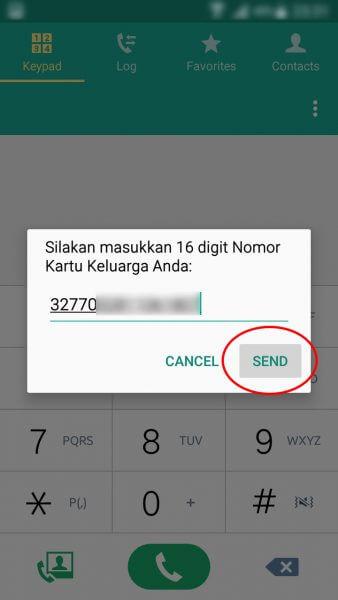 """Registrasi Ulang Kartu SIM Prabayar - ketik Nomor Kartu Keluarga dan tekan tombol """"Send"""" atau """"Kirim""""."""