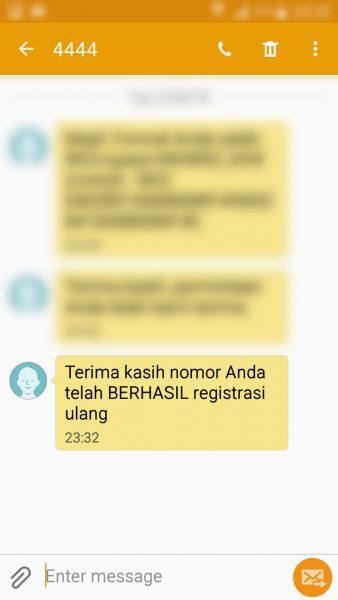 Registrasi Ulang Kartu SIM Prabayar - SMS pemberitahuan registrasi selesai