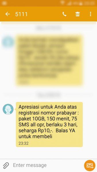 Registrasi Ulang Kartu SIM Prabayar - SMS Telkomsel bonus registrasi prabayar