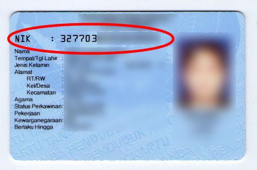 Nomor Induk Kependudukan (NIK) atau nomor KTP