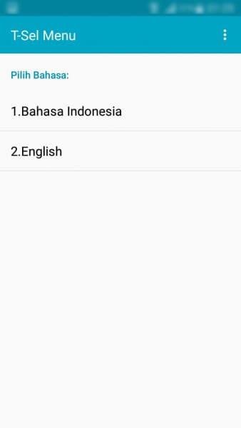 Mengubah setelan bahasa T-Sel Menu ke Bahasa Inggris (English) - Daftar menu bahasa.