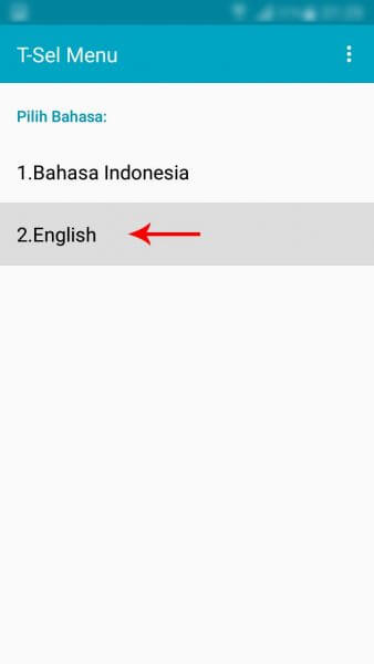 "Mengubah setelan bahasa T-Sel Menu ke Bahasa Inggris (English) - Pilih menu ""English""."