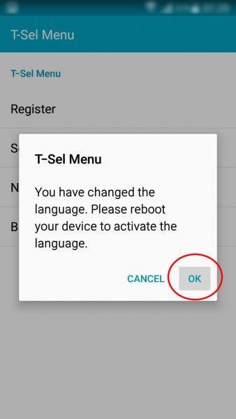 """Mengubah setelan bahasa T-Sel Menu ke Bahasa Inggris (English) - Tekan tombol """" OK"""" pada kotak pop-up notifikasi perubahan bahasa."""
