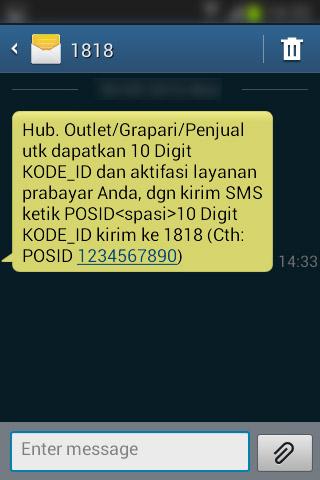 SMS pemberitahuan dari nomor 1818 untuk mengirimkan kode ID Penjual