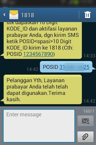 SMS balasan dari nomor 1818